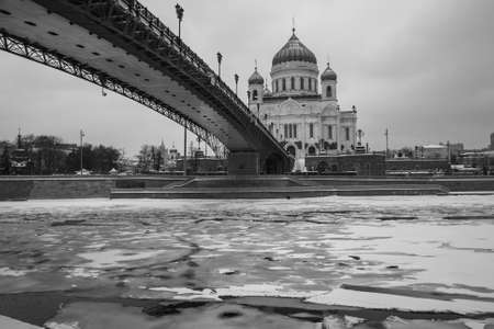 Cathedral of Christ the Saviour at winter black and white tonned in Moscow, Russia Редакционное