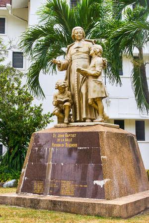 GEORGETOWN, MALAYSIA - FEBRUARY 14, 2018: St. Jogn Baptist de la sale Petron of Teachers monument