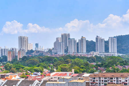 Georgetown city panoramic aerial view from Penang island, Malaysia