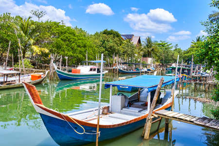 Fishing village on Langkawi island, Malaysia 免版税图像