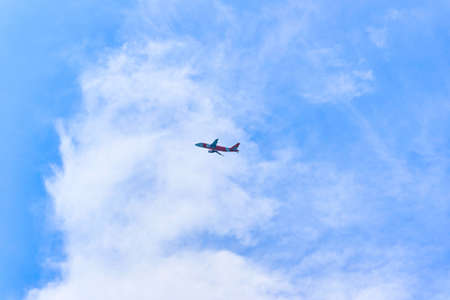 Plane is taking off from an island