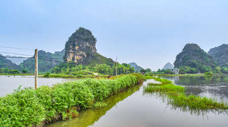 Mountains panoramic view in Ninh Binh, Vietnam