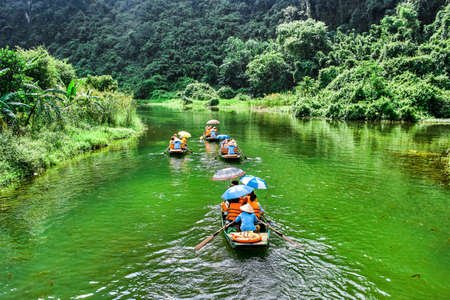 Trang An rowboat with beautiful view, Ninh Binh, Vietnam