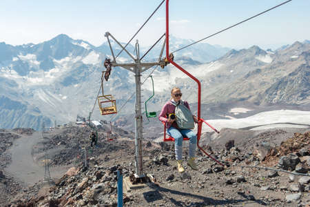 Elbrus mountain cable car to the top Редакционное