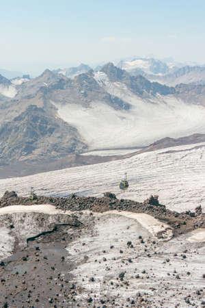 Elbrus mountain cable car to the top Stok Fotoğraf