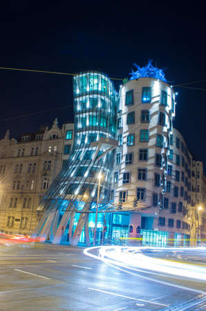 dancing house: Night view of the famous dancing house  tancici dum in Prague