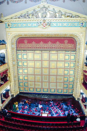 entranceway: PRAGUE, CZECH REPUBLIC, JANUARY 30, 2015: view of the main stage of the national theatre in prague.