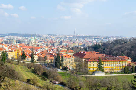 aerial view of prague taken from the strahov monastery.