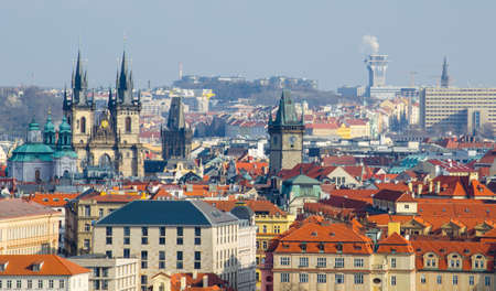 Aerial view of prague, charles bridge and old town square city hall taken from the top of saint nicolas church.