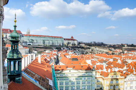 aerial view of prague castle and malostranske namesti taken from the top of the saint nicolas church in prague.