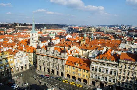 PRAGUE, CZECH REPUBLIC, JANUARY 30, 2015: aerial view of malostranske namesti in the historical center of prague.