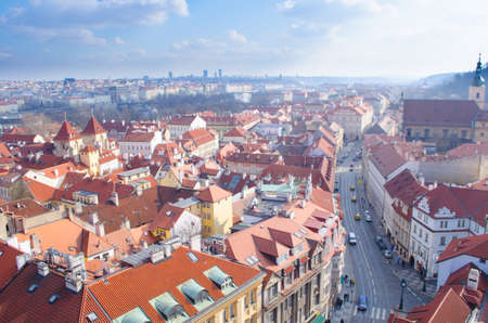 aerial view of the old town center of prague