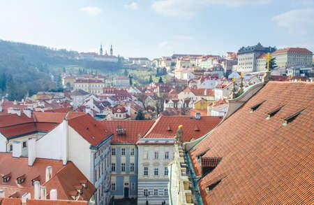 aerial view of hradcany quarter and strahov monastery in prague.