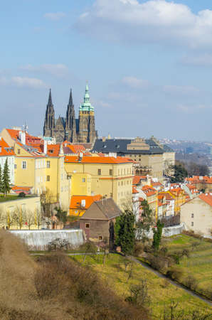 panorama of the prague castle and prague city taken from the strahov monastery.