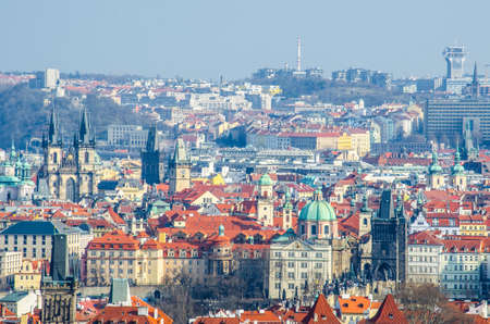 PRAGUE, CZECH REPUBLIC, JANUARY 30, 2015: panorama of prague taken from the strahov monastery.