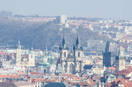 viw of the old town city hall and vitkov monument taken from the strahov monastery in prague.