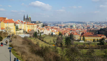PRAGUE, CZECH REPUBLIC, JANUARY 30, 2015:panorama of prague taken from the strahov monastery.