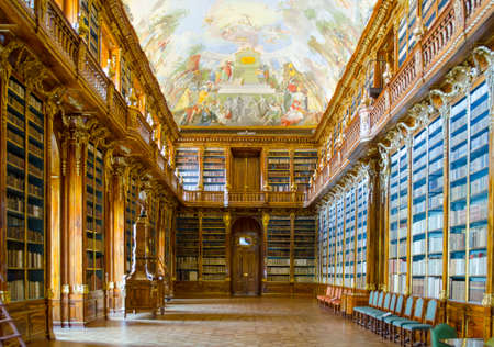 PRAGUE, CZECH REPUBLIC, JANUARY 30, 2015: view of the interior of famous library situated inside of the strahov monastery in prague.