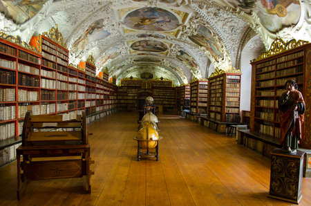 theological: PRAGUE, CZECH REPUBLIC, JANUARY 30, 2015: view of the interior of famous library situated inside of the strahov monastery in prague.