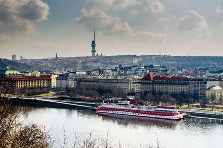 depressive: PRAGUE, CZECH REPUBLIC, JANUARY 30, 2015: depressive view of the dark dvorak quay - dvorakovo nabrezi in prague.