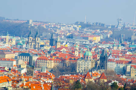 PRAGUE, CZECH REPUBLIC, JANUARY 30, 2015: aerial view of the new town in prague.