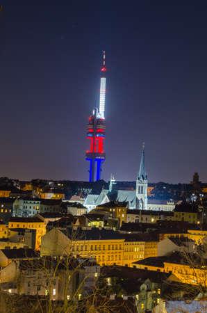 tv tower: night view of the illuminated zizkov tv tower in prague