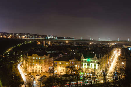 night view of the prague congress center, nuselsky bridge and valley filled with houses below them in prague. Editorial