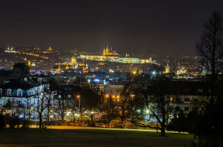 PRAGUE, CZECH REPUBLIC, JANUARY 30, 2015: night view of the prague castle and adjacent area taken from the top of rieger orchards.