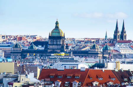 PRAGUE, CZECH REPUBLIC, JANUARY 30, 2015: view of the rooftops of prague and some of its hundred towers.