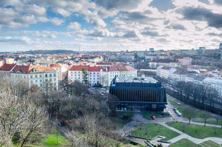 capturing: view from the nuselsky bridge in prague capturing sport hall of USK prague called folimanka. Editorial
