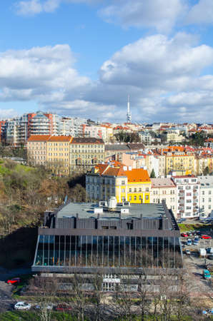 view from the nuselsky bridge in prague capturing sport hall of USK prague called folimanka. Editorial