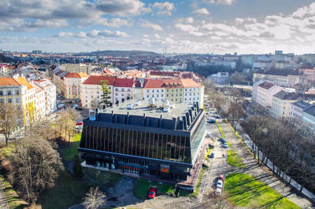PRAGUE, CZECH REPUBLIC, JANUARY 30, 2015: view from the nuselsky bridge in prague capturing sport hall of USK prague called folimanka.