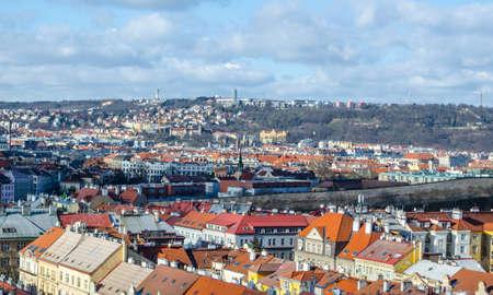 view of prague towards strahov soccer stadium taken from nuselsky bridge.