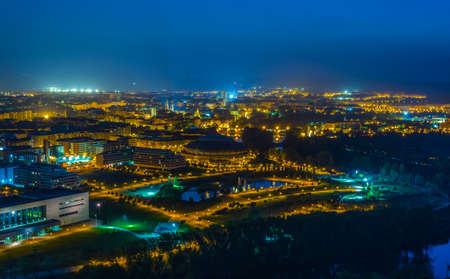 Night aerial view of the spanish city Logrono  Stock Photo