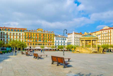 Plaza del castillo in the spanish city Pamplona  Editorial