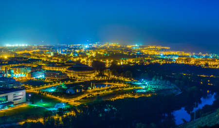 Night aerial view of the spanish city Logrono