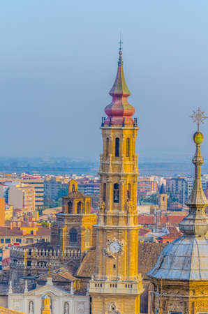 Aerial view of the catedral del salvador de zaragoza in Zaragoza, Spain