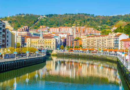 Waterfront of Nervion river near the town hall in Bilbao, Spain  Editorial