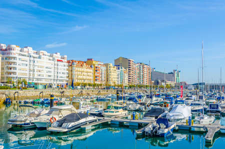 View of marina in the spanish city santander