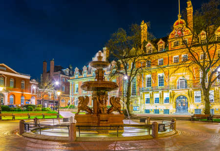 Night view of town hall in Leicester, England