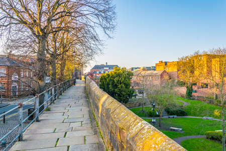walls of Chester surrounding the old town, England