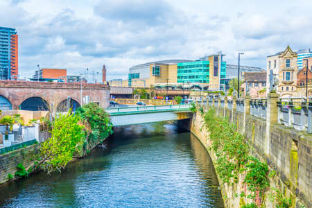 Riverside of river Irwell in Manchester, England