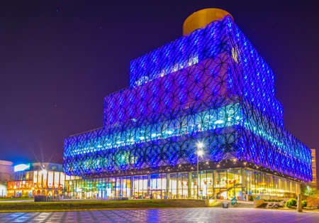 Night view of the Library of Birmingham, England