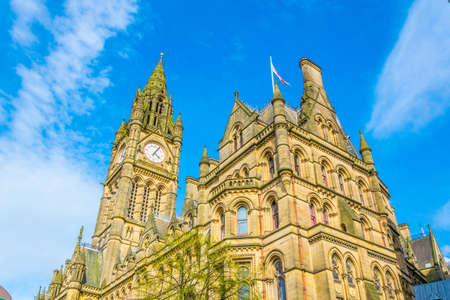 View of the town hall in Manchester, England