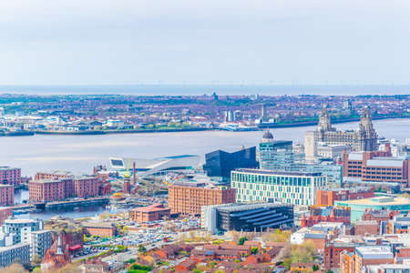 Aerial view of three graces and albert dock in Liverpool, England