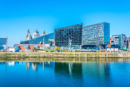 Waterside of Liverpool dominated by open eye gallery, England  Editorial