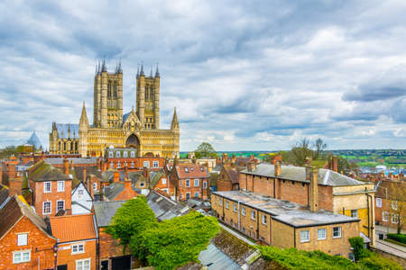 Aerial view of the lincoln cathedral, England