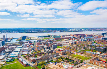 Aerial view of albert dock in Liverpool, England