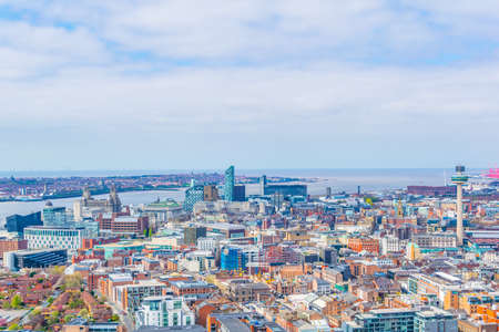 Aerial view of Liverpool including three graces and radio city tower, England