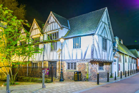 Night view of guild hall in leicester during night, England